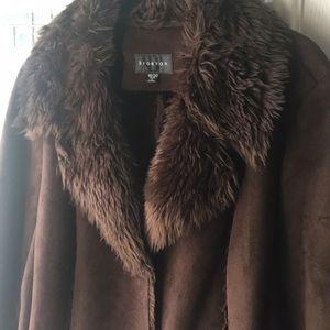 Brown suede short faux fur lined coat.